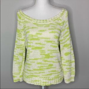 American Eagle white and green chunky knit sweater